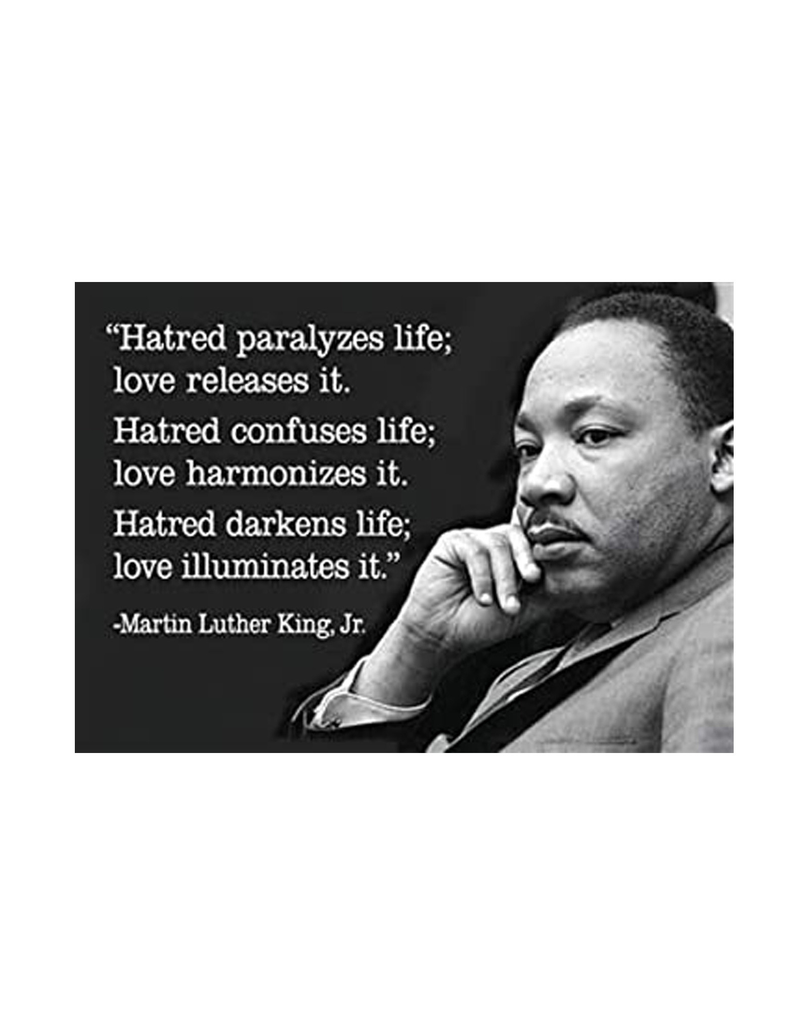 """Hatred Paralyzes Life; Love Releases It""  MLK Magnet"