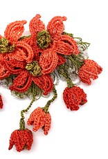 Brooch with Dangling Flowers Salmon