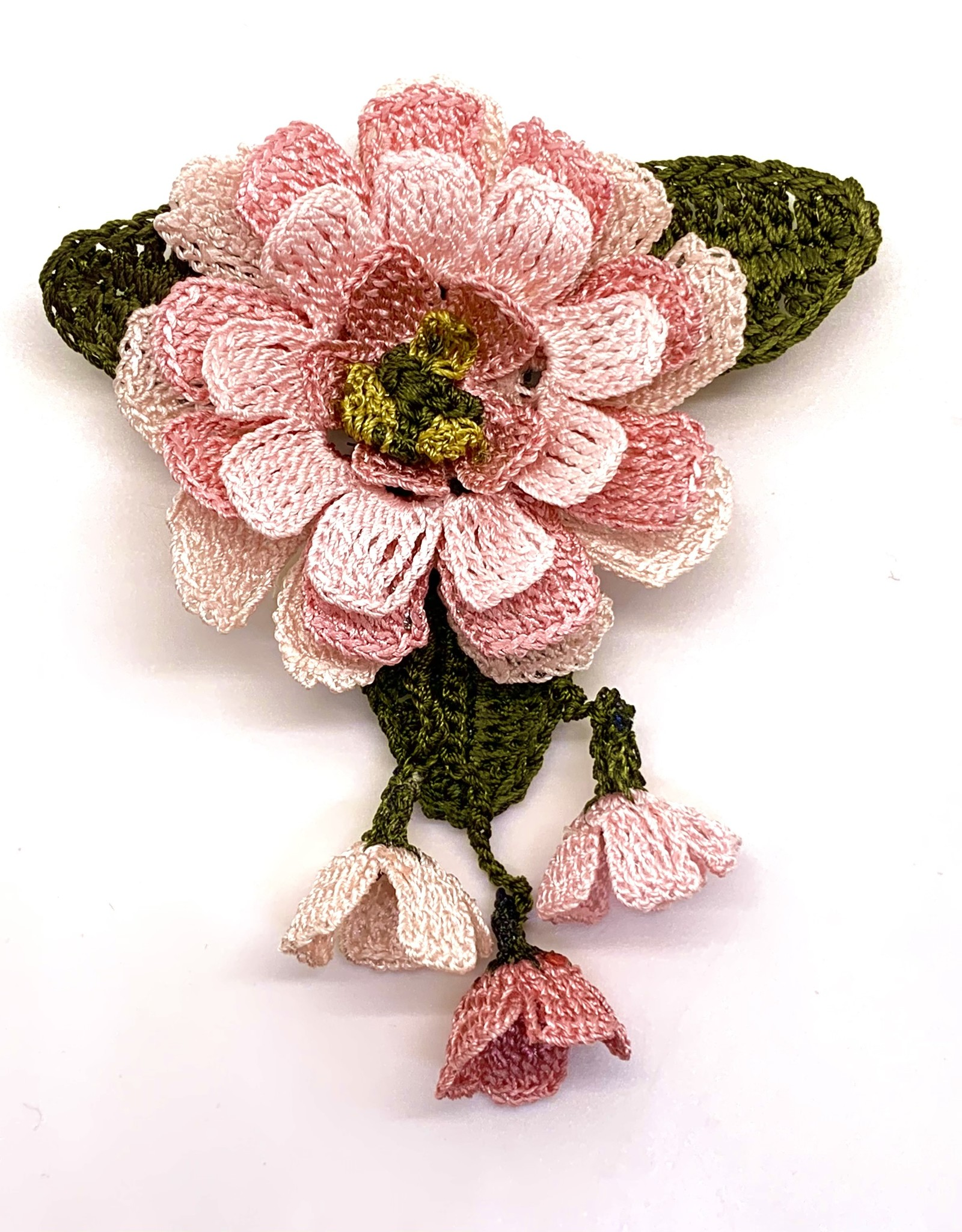 Brooch Flower With Dangles Pale Pink