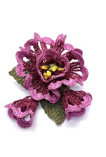 Brooch with Flowers Plum