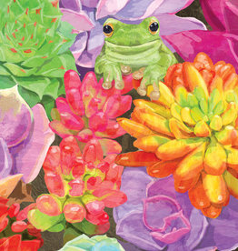 Succulents Frog Birthday Card