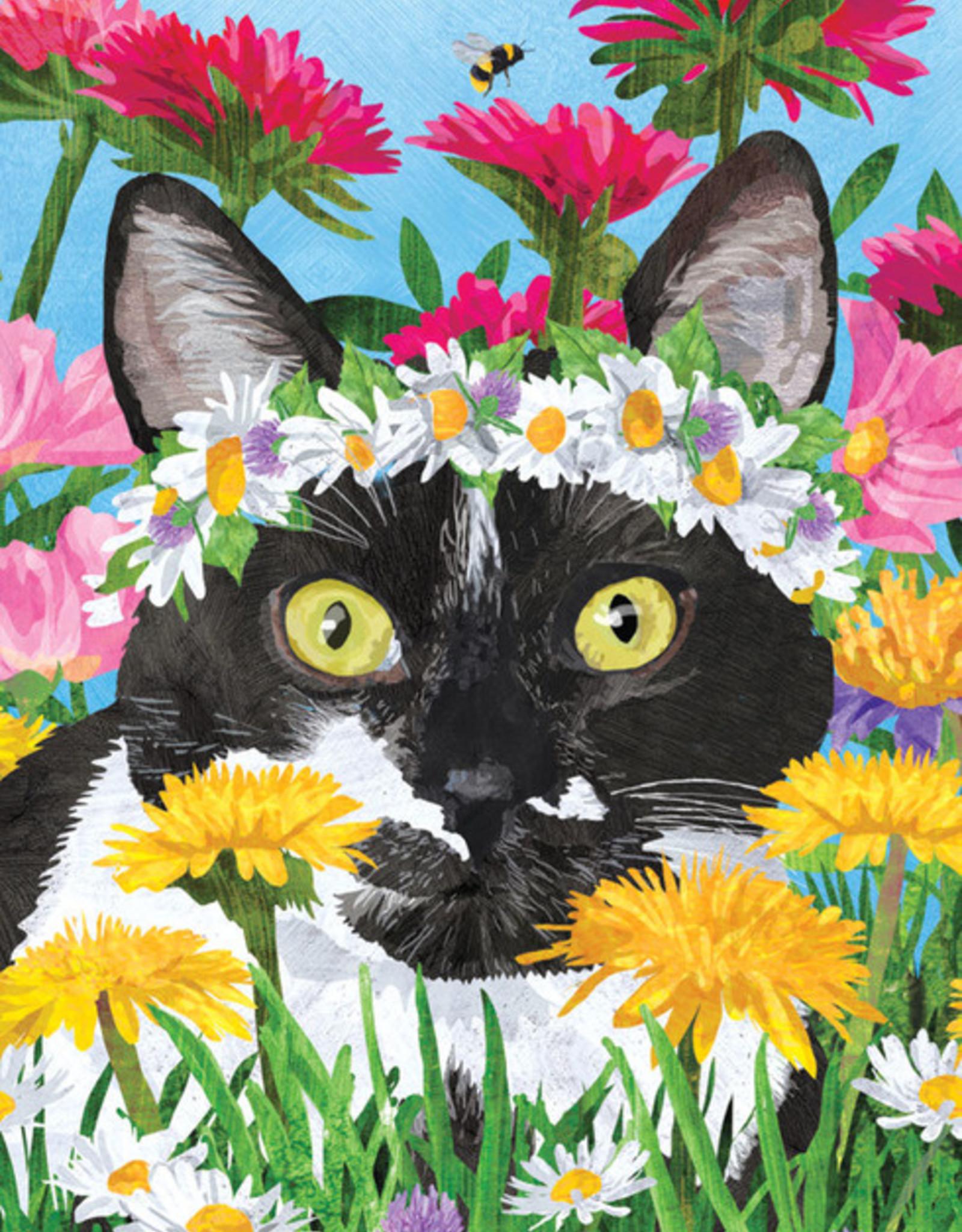 Cat in Garden Birthday Card