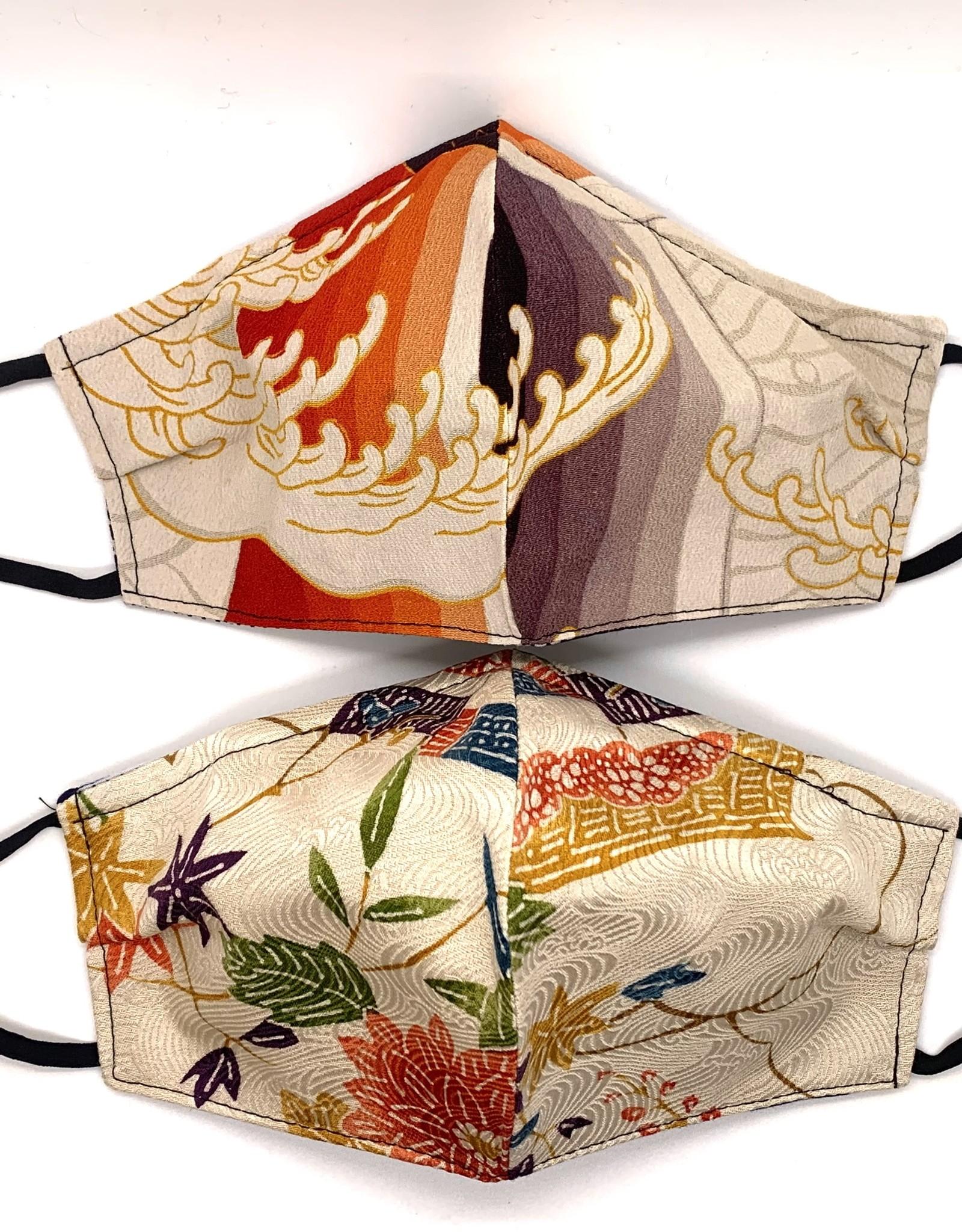Warm Toned Japanese Kimono Face Mask