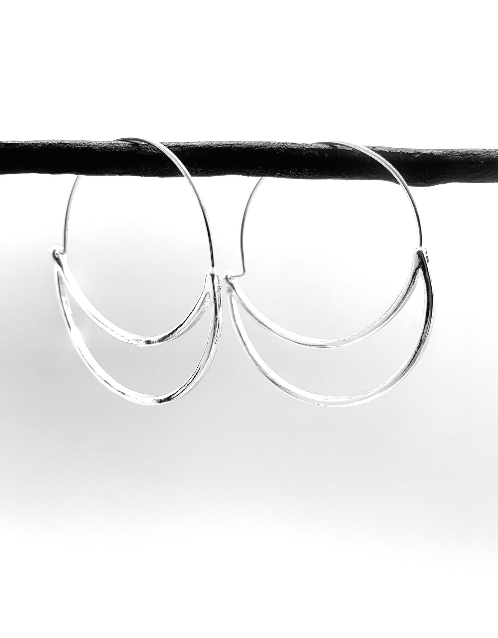 Silver Crescent Hoop Earring