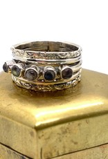 Silver Ring with Small Labradorite Stones