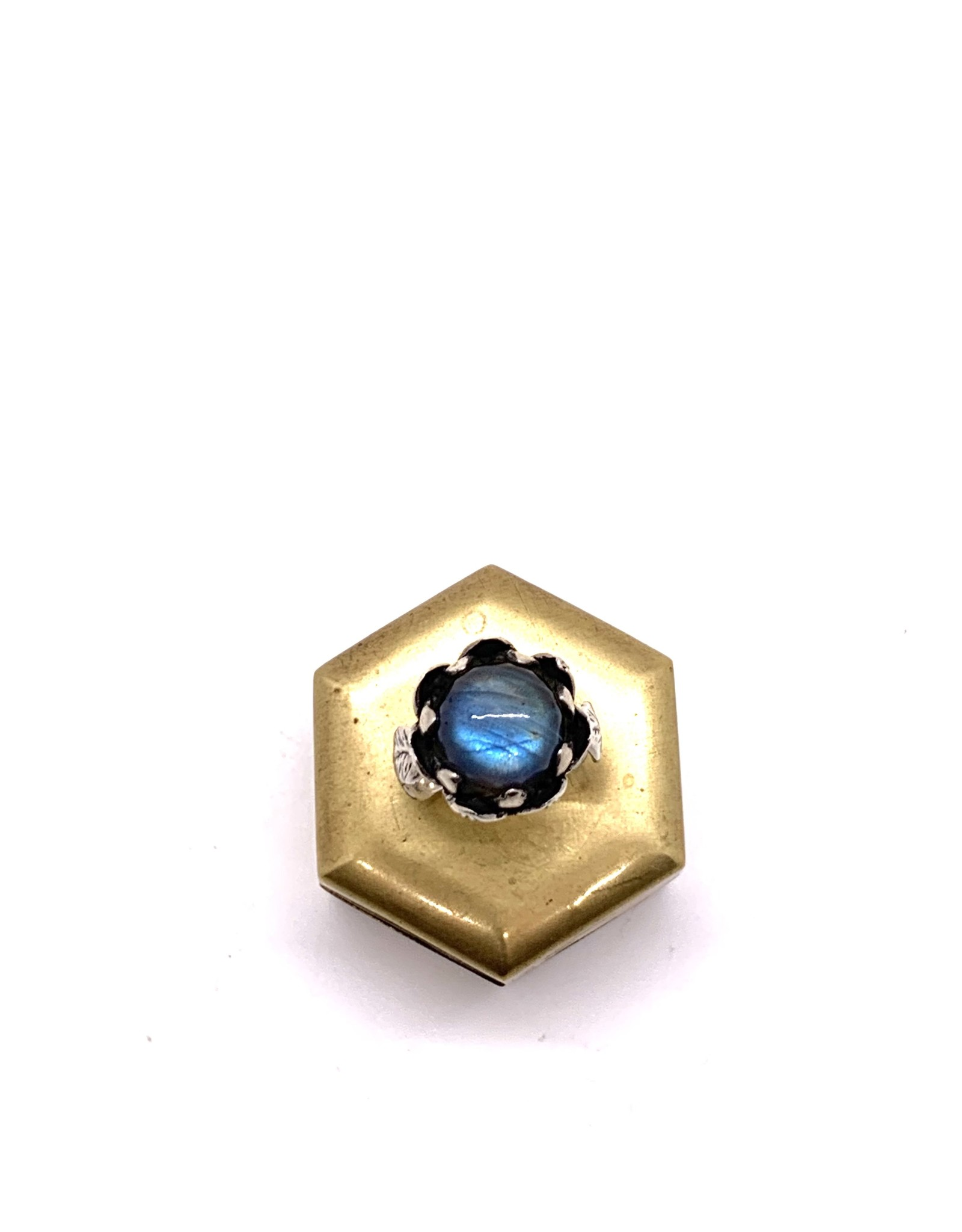 Silver and Labradorite Lotus Flower Ring