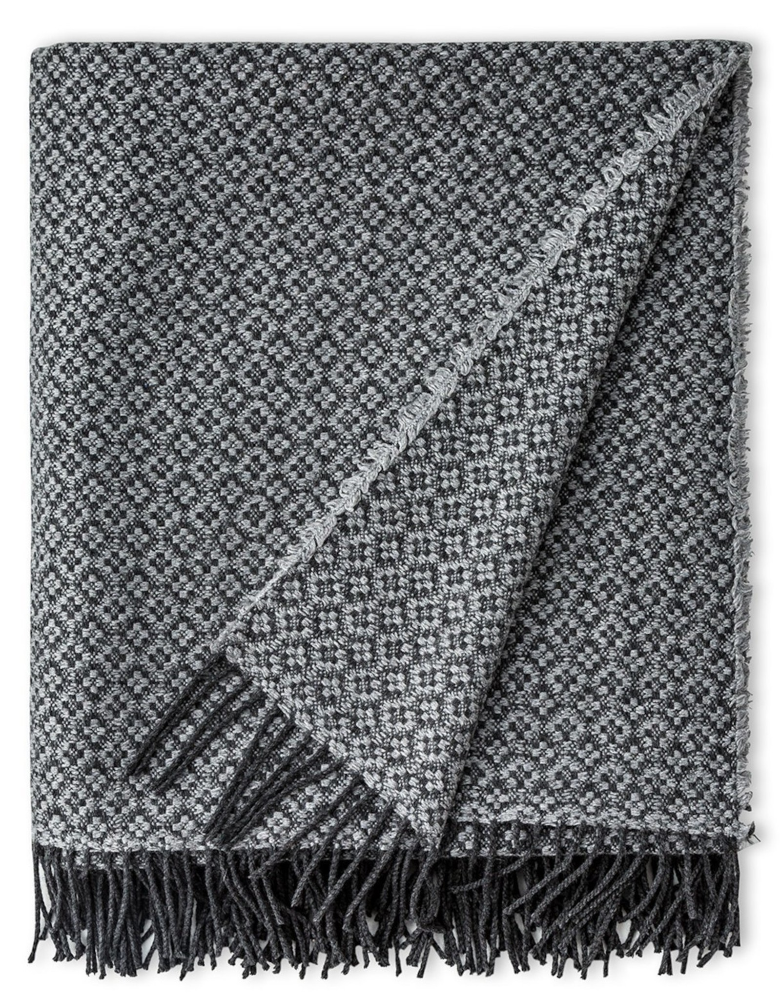 Checked Grey Throw Cashmere