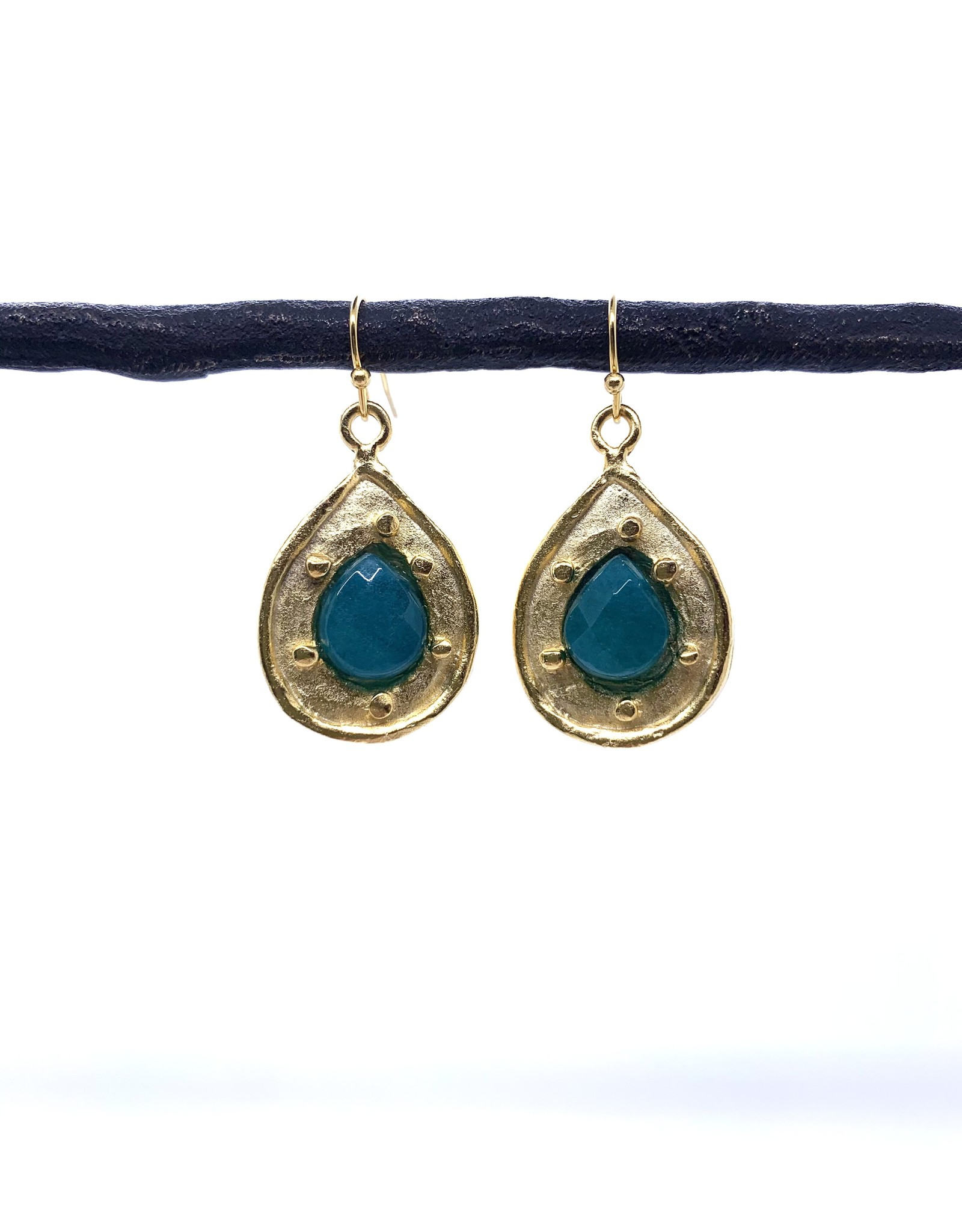 Teal and Gold Teardrop Earring
