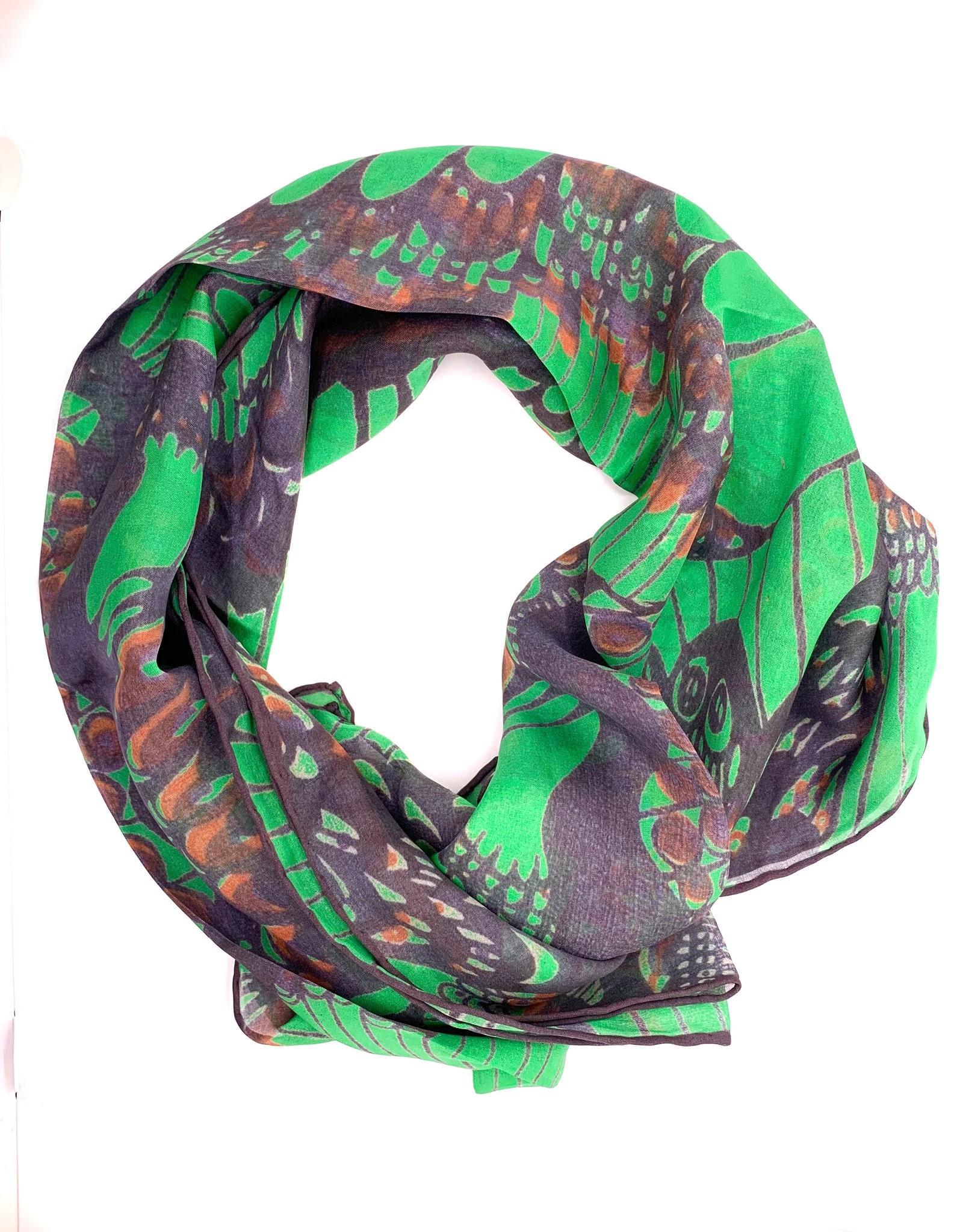 Green Silk Butterfly Scarf