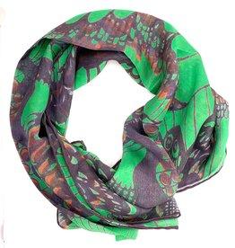 Green Butterfly Silk Scarf
