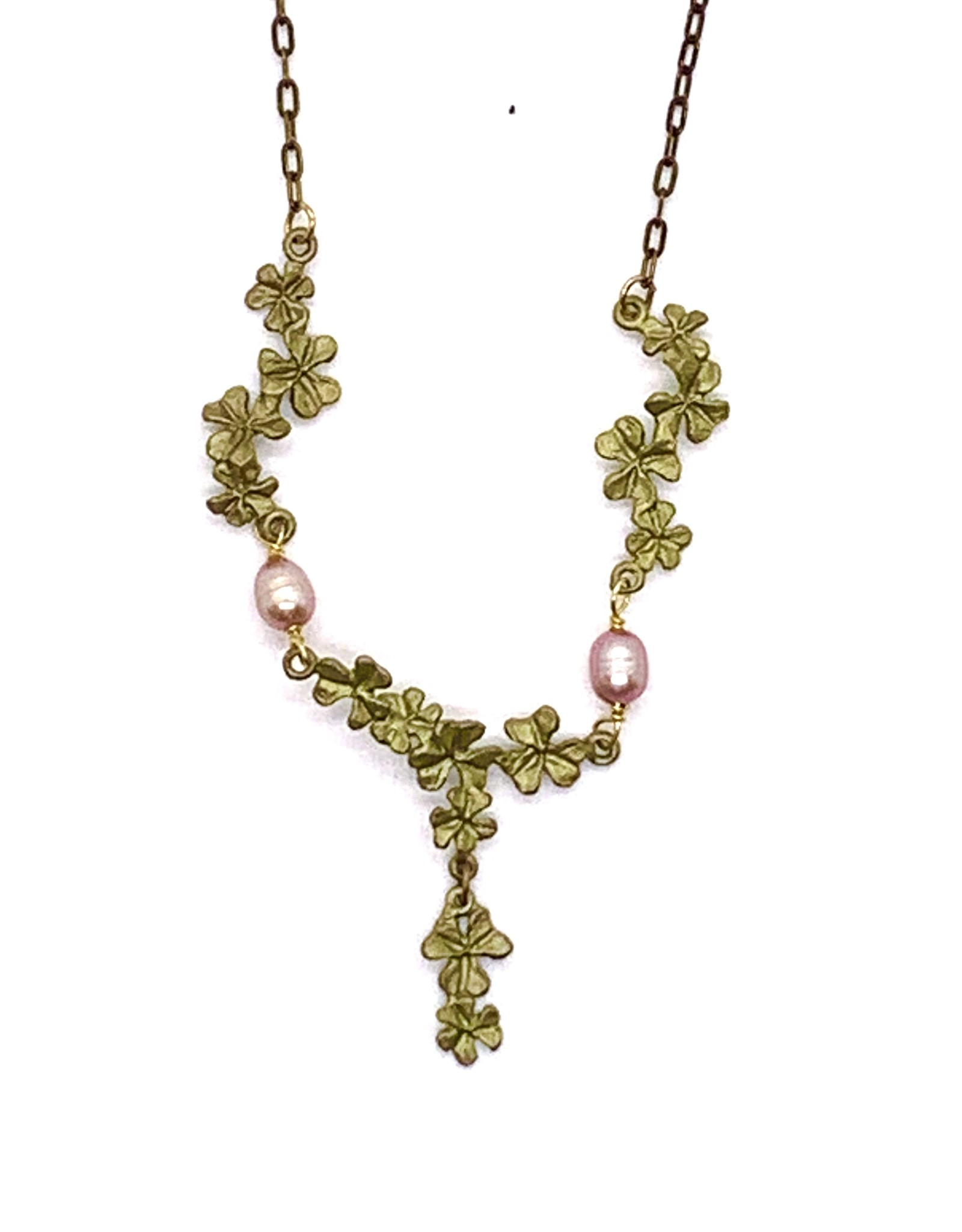 Pink Pearl and Clover Necklace