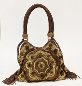 Large Leather Beaded Shoulder Bag