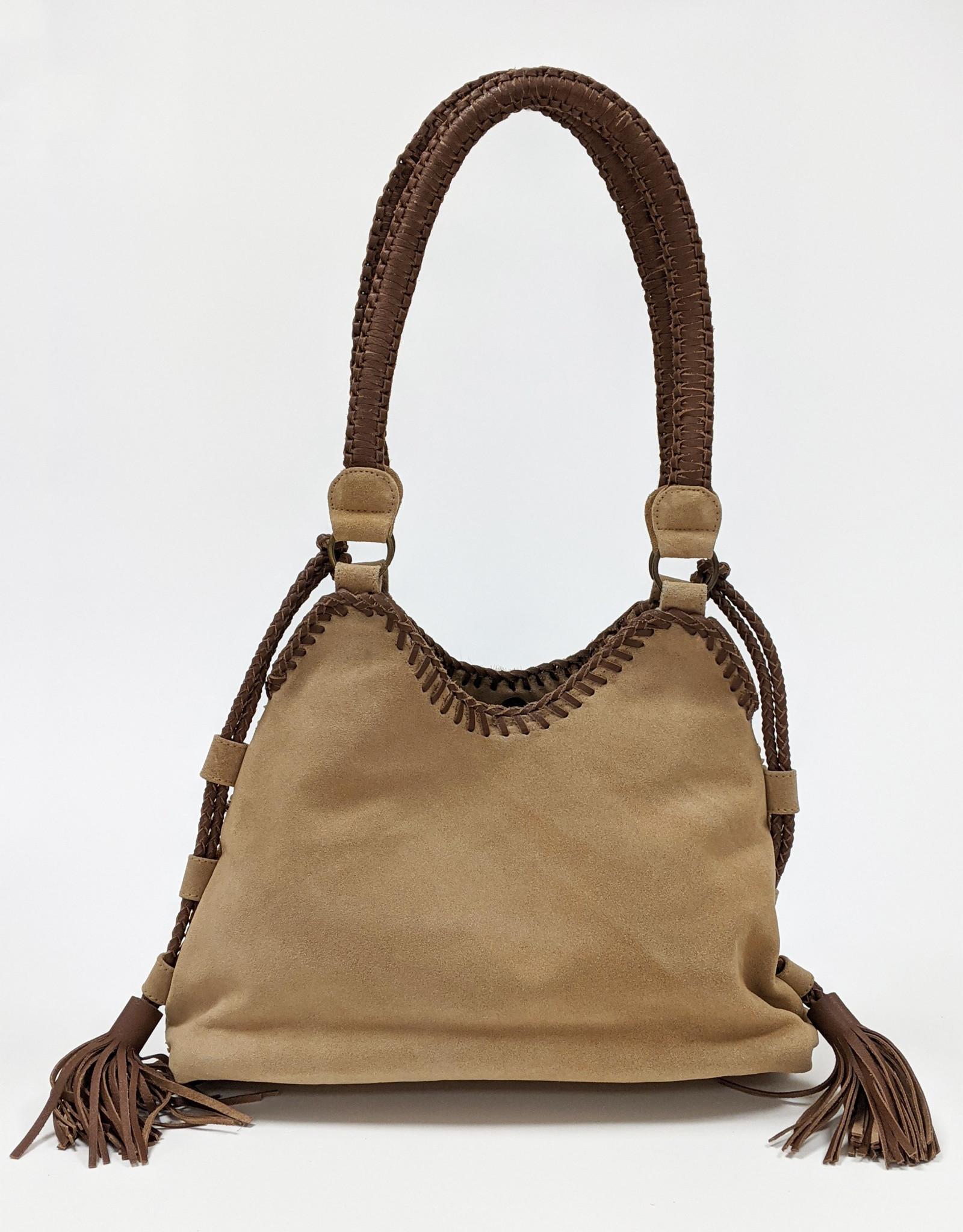 Large Leather Beaded Shoulder Bag