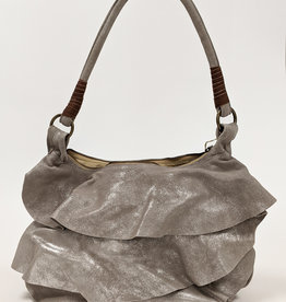 Metallic Ruffle Shoulder Bag