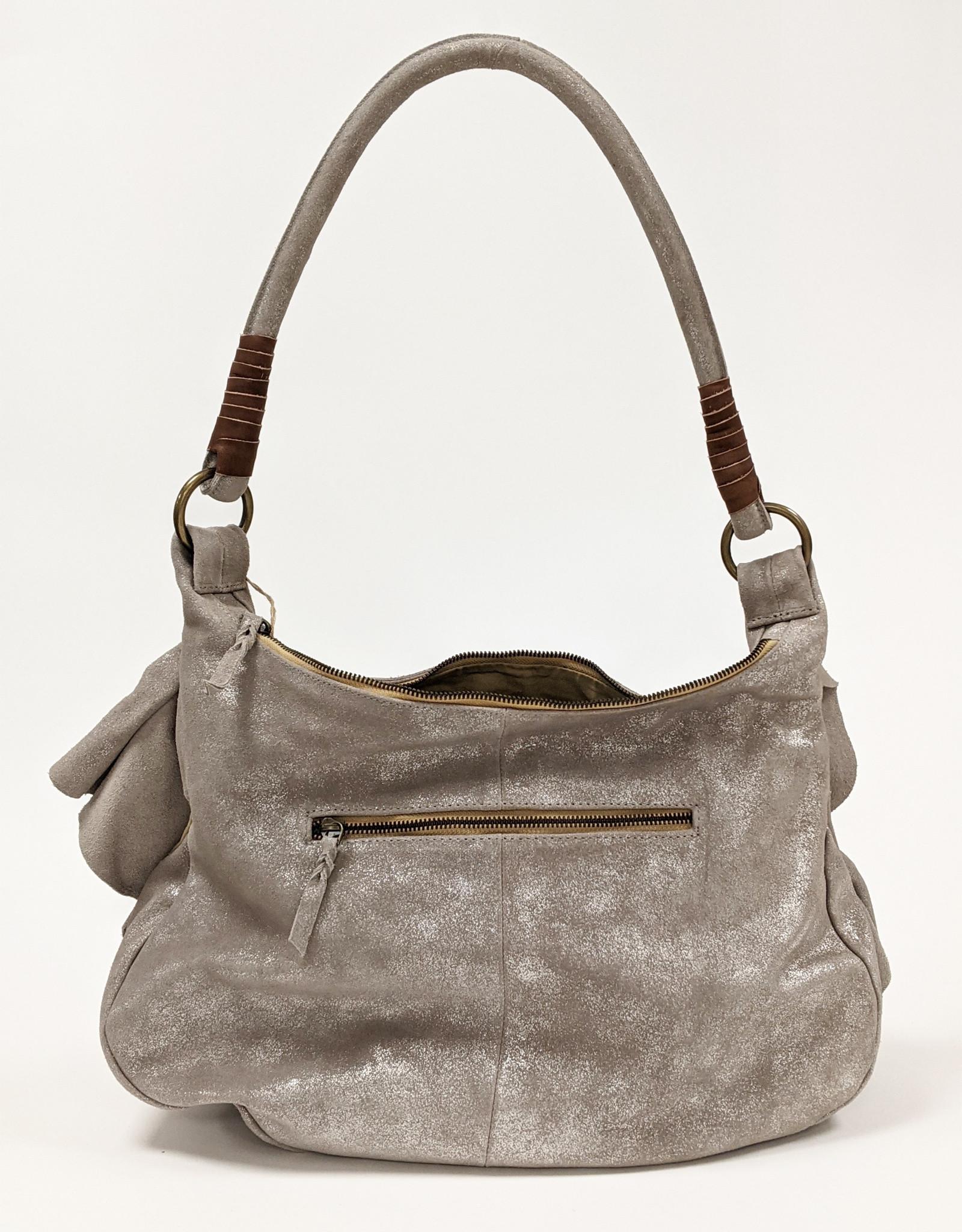 Metallic Ruffle Shoulder Bag