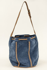Blue Suede Embroidered Bag