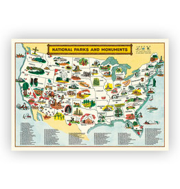 National Parks Map Poster Wrap