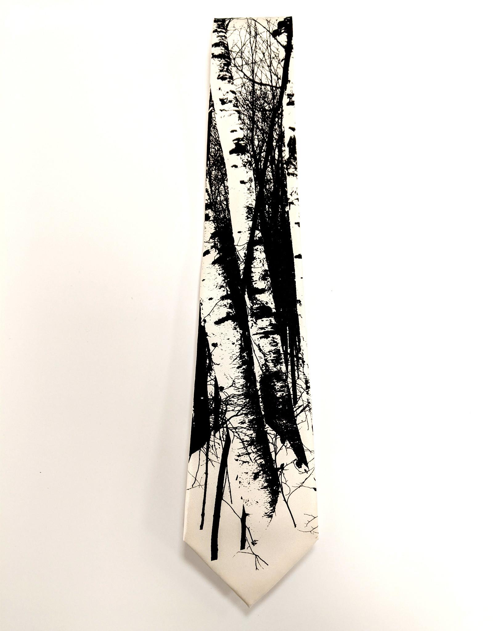 Necktie Birch Trees Black on Cream