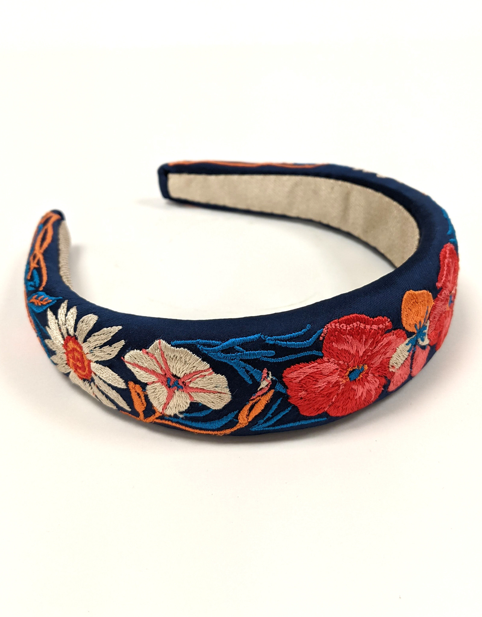 Country Garden Navy Padded Headband