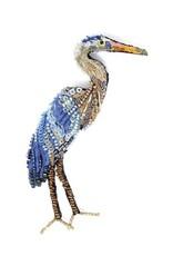 Blue Heron Brooch Pin
