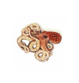Ruby Octopus Brooch Pin
