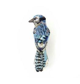 Coastal Blue Jay Brooch Pin