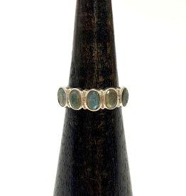 Five Labradorite Stone Silver Ring