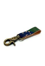 Indigo Green Marbled Leather Key Ring