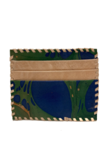 Indigo Green Marbled Leather Card Holder