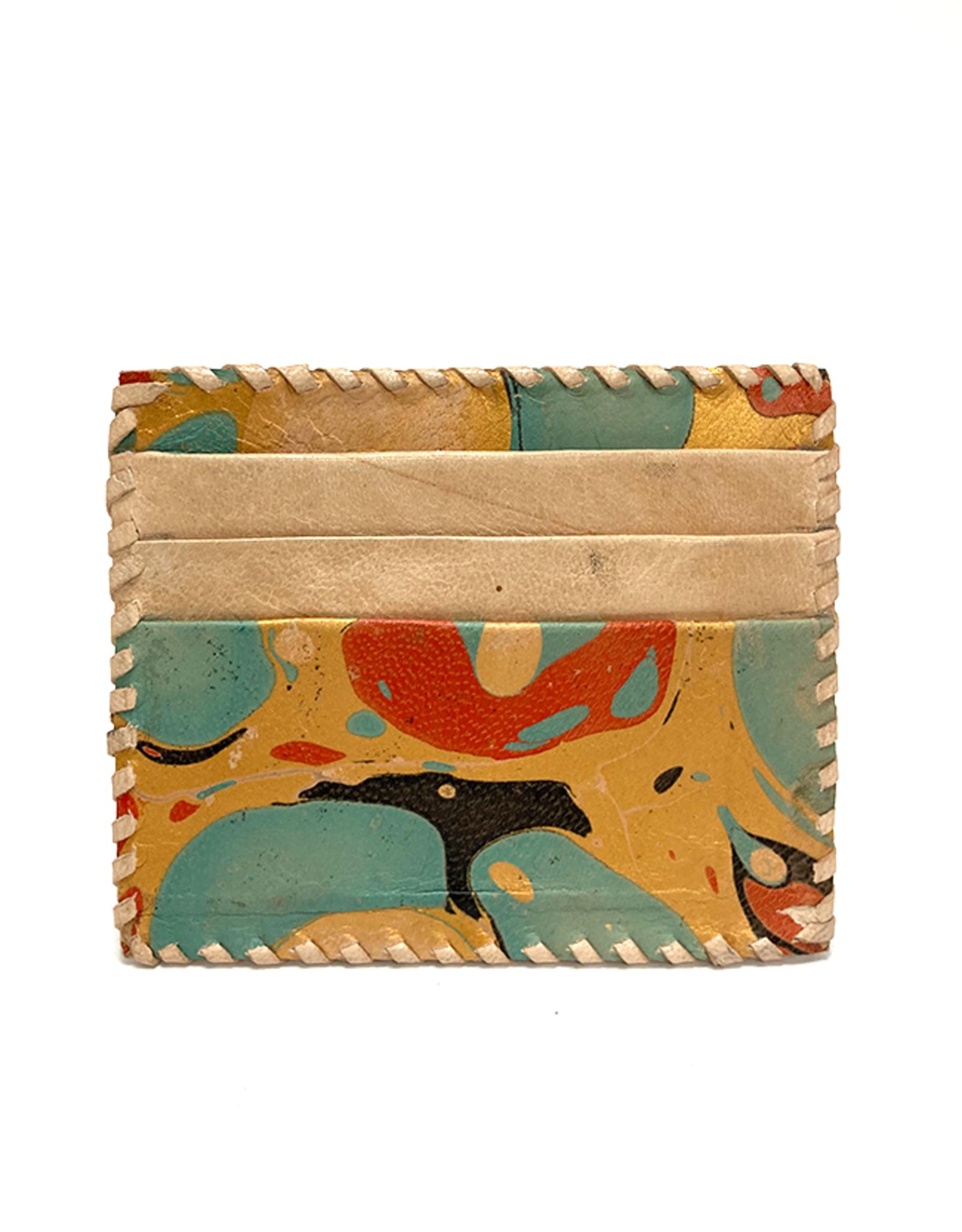 Gold Aqua Marbled Leather Card Holder