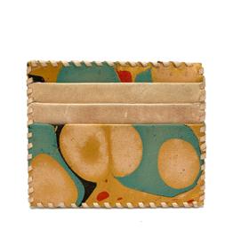 Gold Aqua Marbled Card Holder