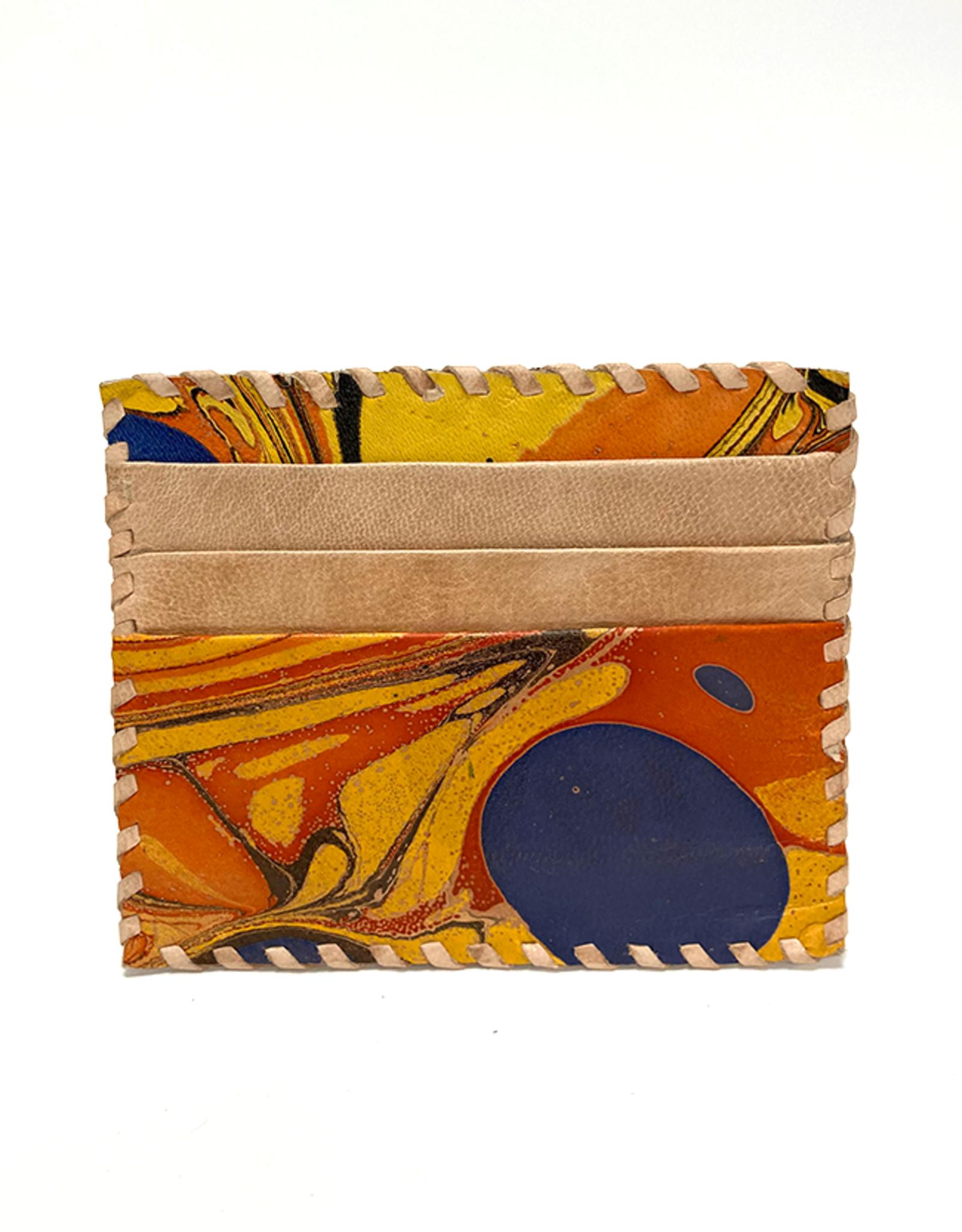 Indigo Yellow Marbled Leather Card Holder