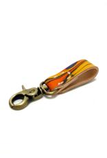 Indigo Yellow Marbled Leather Key Ring