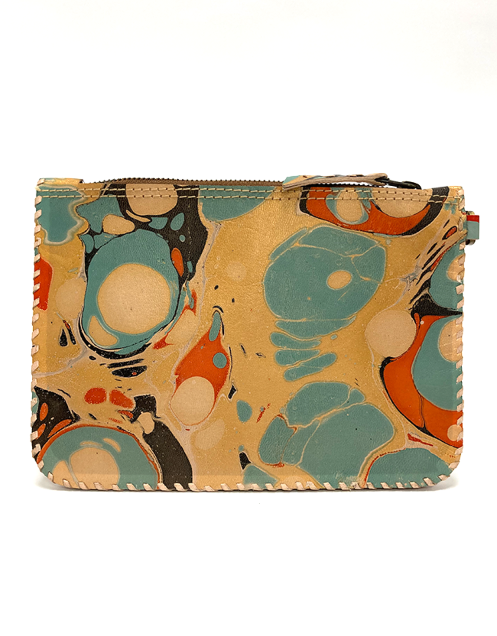 Gold Aqua Marbled Leather Wristlet Pouch