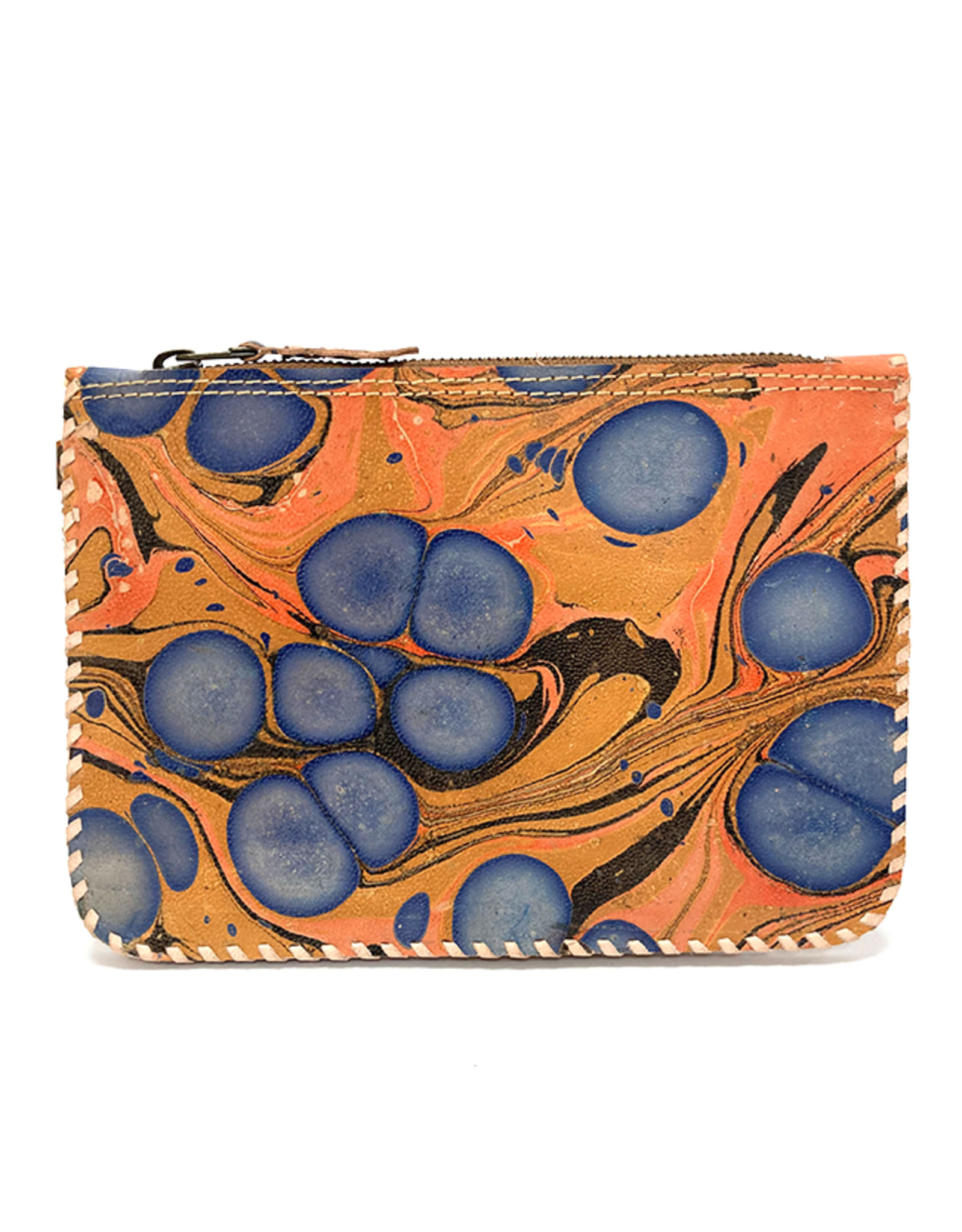 Indigo Orange Marbled Leather Wristlet Pouch