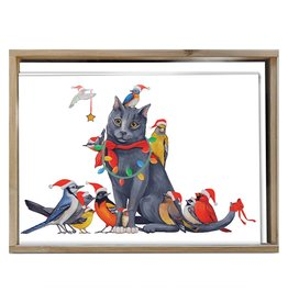 Cat Bird Christmas Boxed Cards