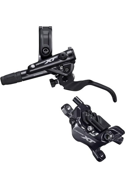 Shimano Deore XT BL-M8100/BR-M8120 Disc Brake and Lever - Front, Hydraulic, Post Mount, 4-Piston, Finned Metal Pads, Black