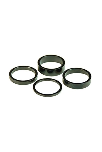 Wheels Manufacturing, Headset Spacer, 1-1/8'', Height: 2.5mm/5mm/7.5mm/10mm, Aluminum, Black, 4pcs