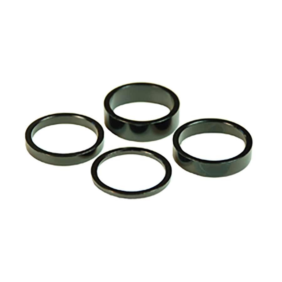 Wheels Manufacturing, Headset Spacer, 1-1/8'', Height: 2.5mm/5mm/7.5mm/10mm, Aluminum, Black, 4pcs-1