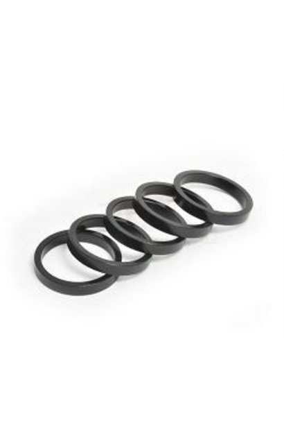 """Wheels Manufacturing Alloy Headset Spacers 1 1/8"""" x 5mm, Black, 1pc"""