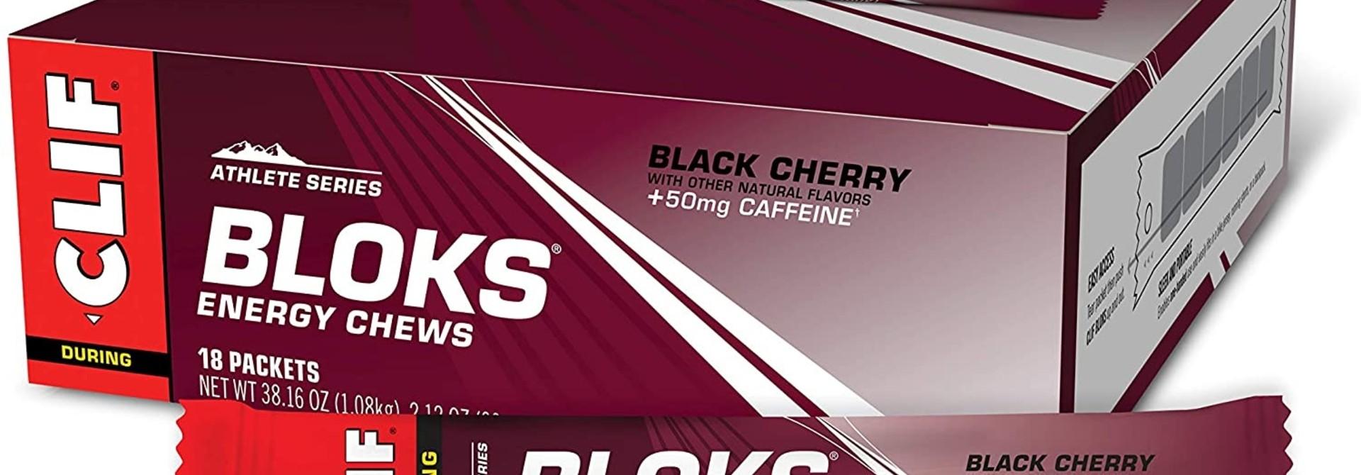 Clif, Bloks, Black Cherry With Caffeine, 18x60g