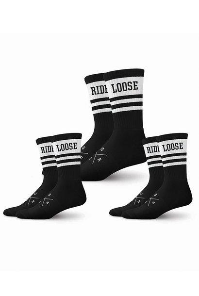 Loose Riders Socks - 3 Pack Black and White Stripe