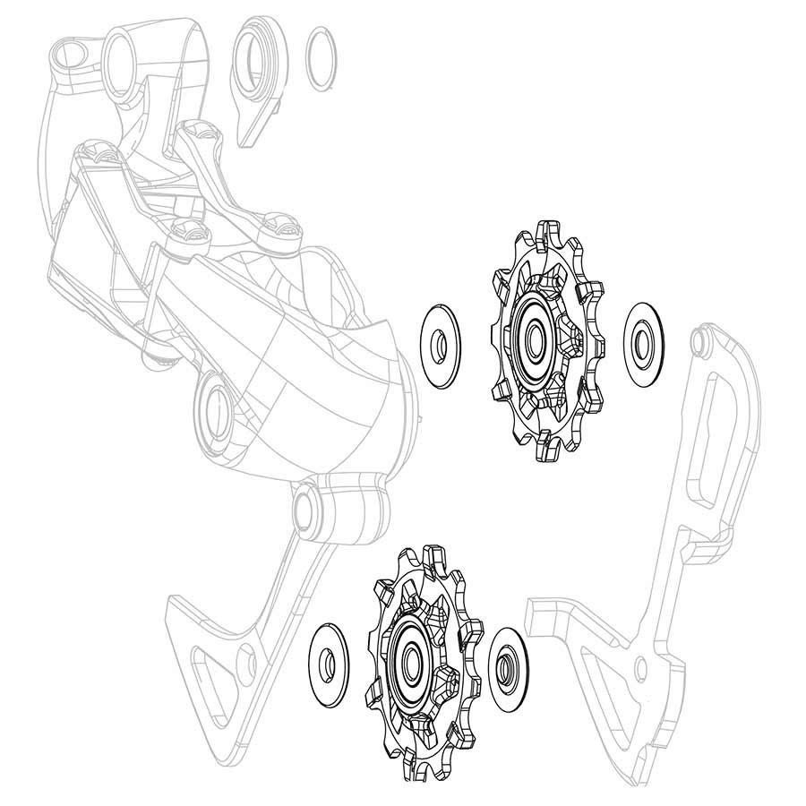 Sram, X01/DH X-Sync, Derailleur pulleys, Pair-1