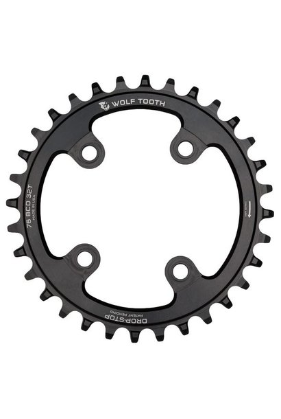 Wolf Tooth 76 BCD Chainring - 30t, 76 BCD, 4-Bolt, Drop-Stop, Compatible with SRAM 76 BCD and Specialized Stout, Black
