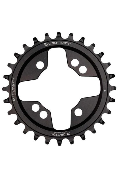 Wolf Tooth Components - BCD 64mm Universal 28 Tooth Chainring (9-11 Speed) Aluminum Black