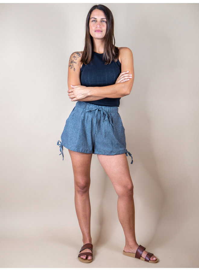 Charcoal Bubble Side Tie Shorts