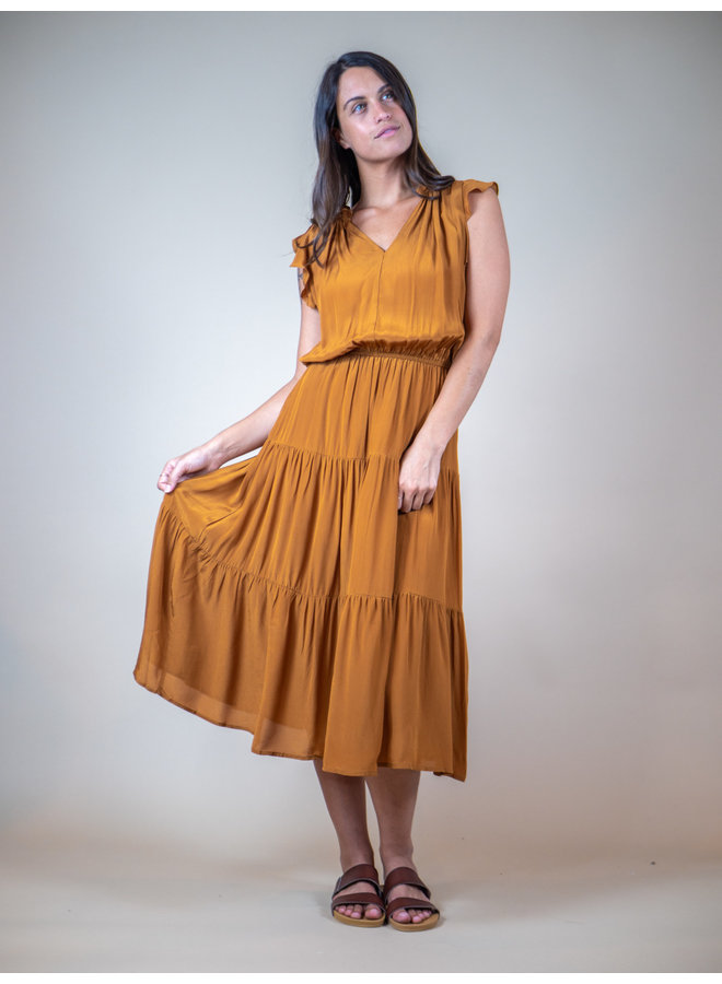 Ochre Tiered Maxi Dress