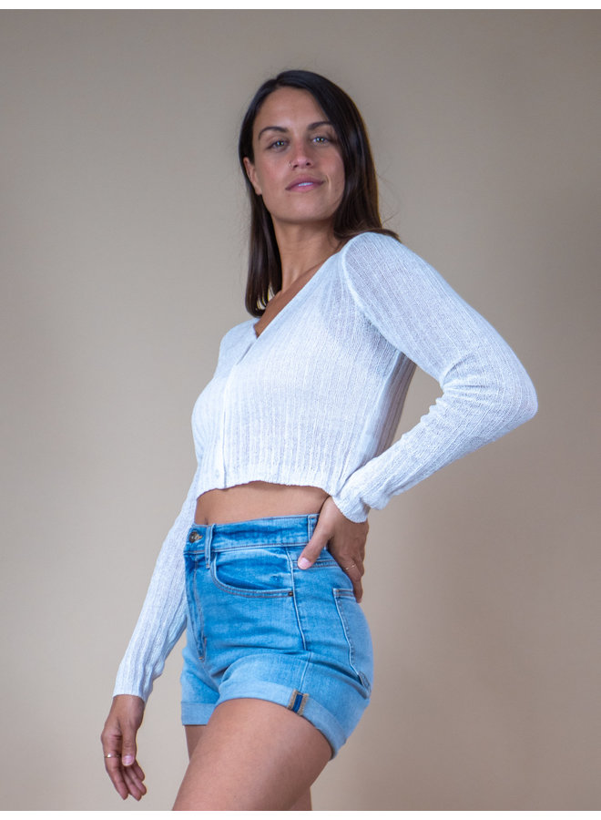 Sunwashed Ribbed Crop Sweater