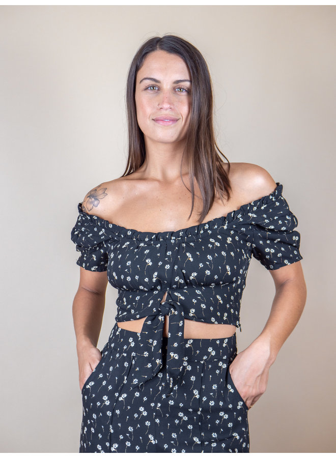 Night Bloom Floral Crop Top