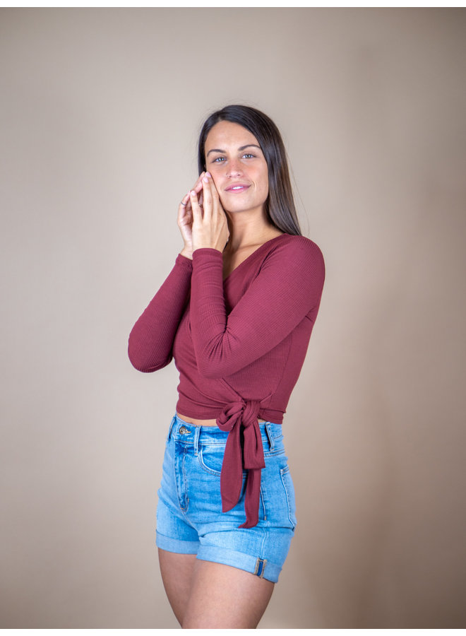 Maroon Ribbed Wrap Top